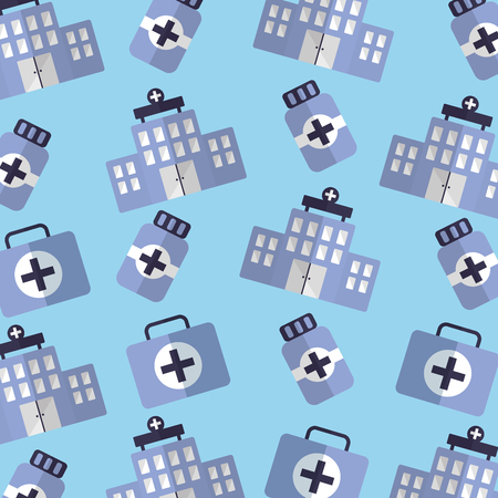 building hospital medicine and kit first aid seamless pattern vector illustration