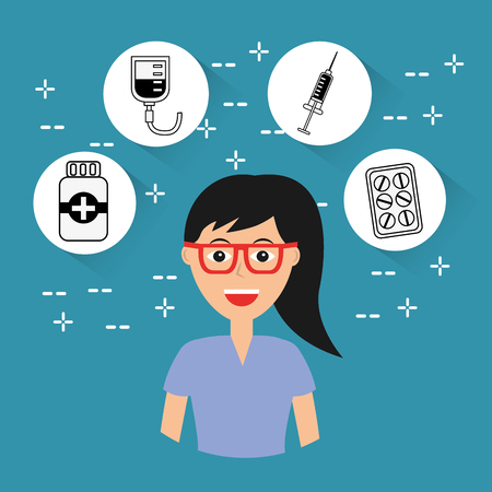 female doctor staff hospital profession medical icons vector illustration