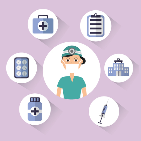 female doctor surgeon mask cap bottle pharmacy clipboard kit first aid vector illustration