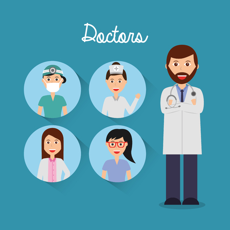 doctor folded arms and team physician icons circle vector illustration