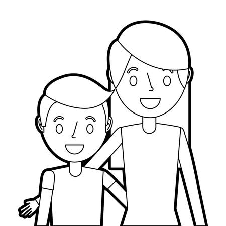 portrait mom embracing her son vector illustration