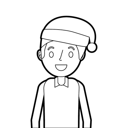 cartoon smiling man young with christmas hat vector illustration Illustration