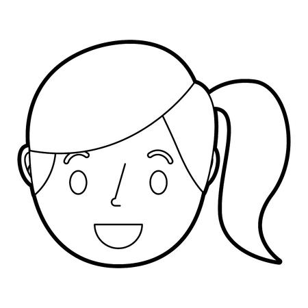 Lächelnde junge Gesichtsmädchen-Karikaturfrauen-Vektorillustration Standard-Bild - 91388653