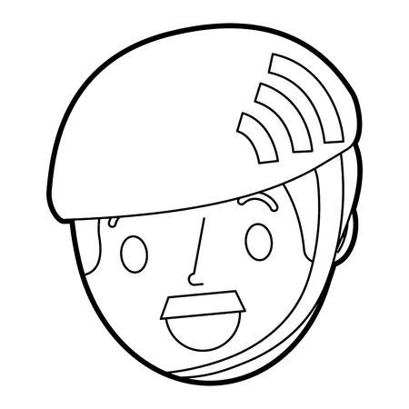 Face senior man wearing sport helmet vector illustration Çizim
