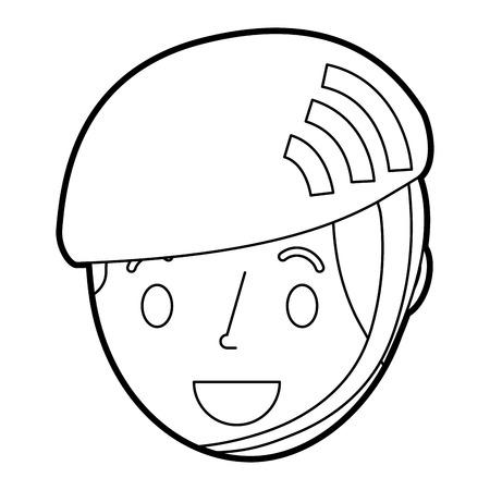 Little young boy wearing sport helmet vector illustration