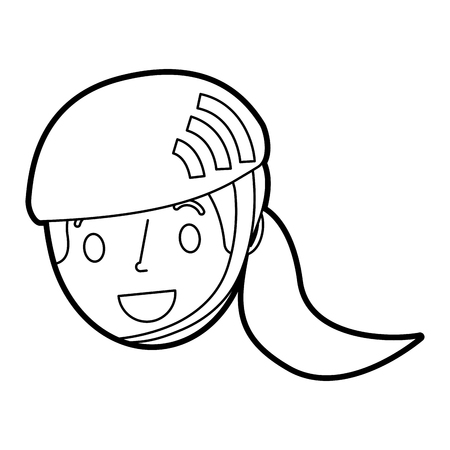 Cute young girl child with sport helmet vector illustration Ilustrace