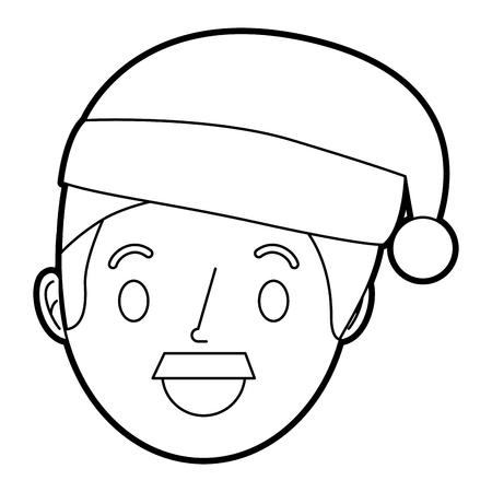 cartoon man adult wearing christmas hat vector illustration Illustration
