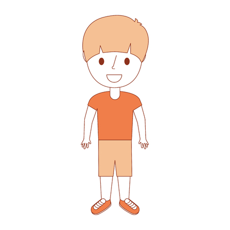 young little boy male character standing vector illustration
