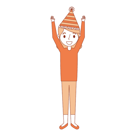 elderly woman grandma with party hat and arms up vector illustration Stock Vector - 91394766