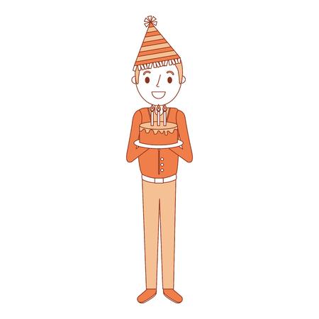 誕生日ケーキやパーティー帽子ベクトル図を保持している古い男おじいちゃん  イラスト・ベクター素材