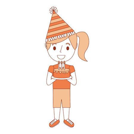 cute young little girl wearing party hat holding birthday cake vector illustration