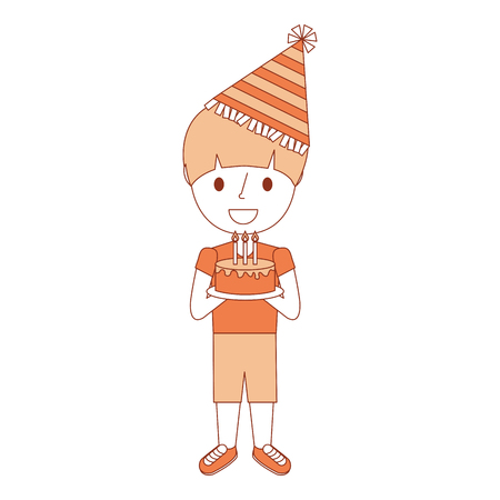 cute young boy holding birthday cake wearing party hat vector illustration