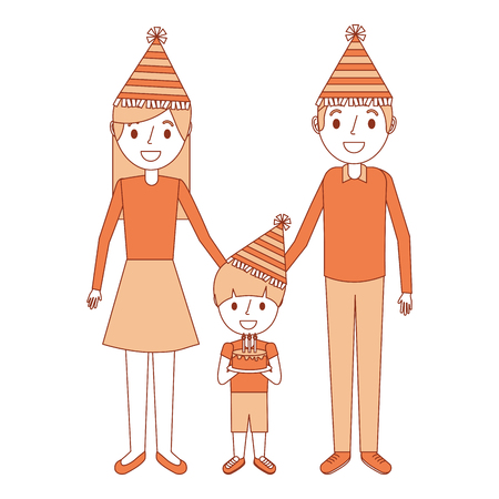 family parents and her son with party hat holding birthday cake vector illustration