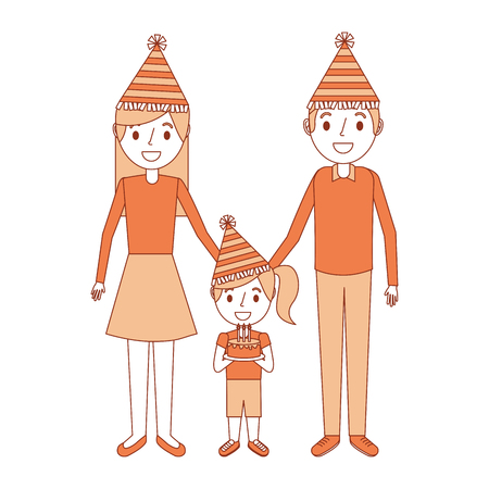 family parents and her kid with party hat holding birthday cake vector illustration