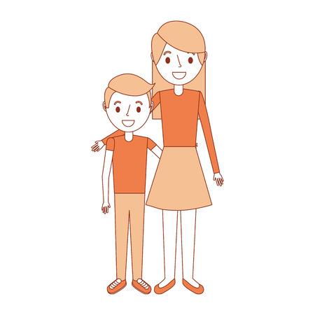 mom embracing her boy son happy vector illustration Illustration