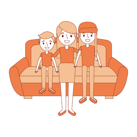 Mom sitting in sofa with her daughter and son vector illustration