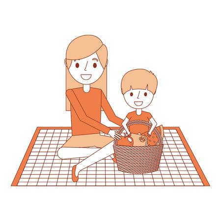 食品バスケットベクトルイラストで毛布の上に座っている彼女の息子とママ