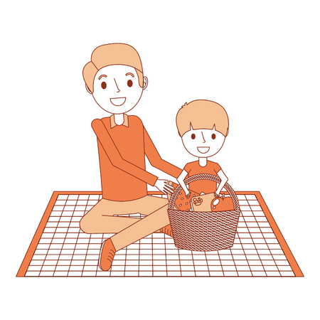 Father with her son sitting on blanket with food basket vector illustration
