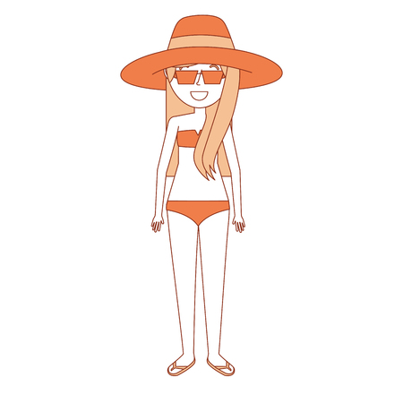 woman mother wear swimsuit hat sunglasses and flip flops vector illustration
