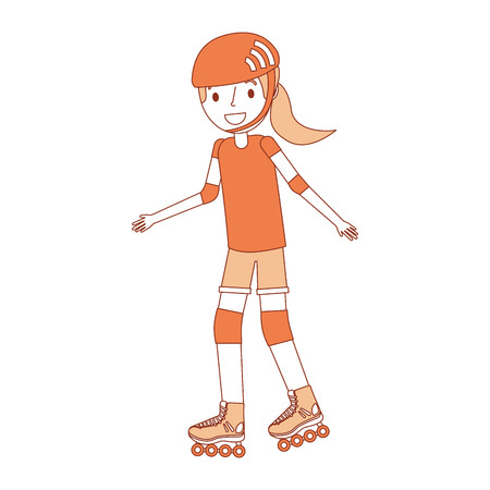 cute young girl smiling with sport helmet vector illustration