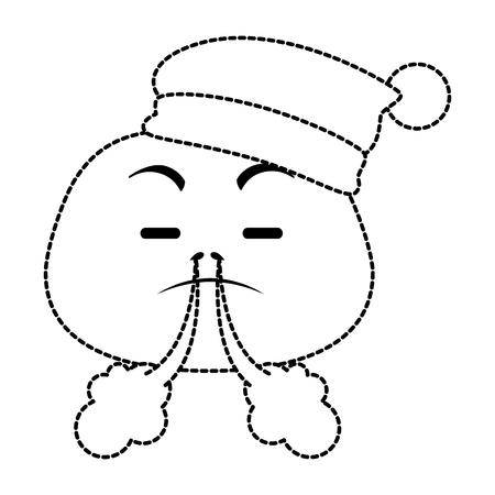 sad emoji face with sleeping hat vector illustration design