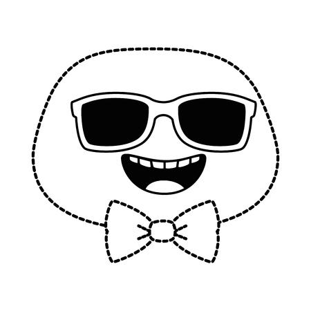 happy emoji face with sunglasses vector illustration design Illustration