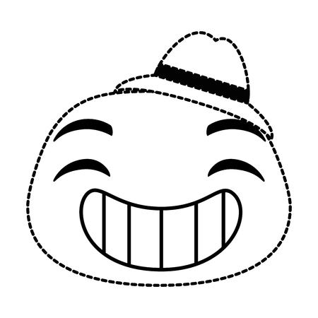 laugh emoji face with hat vector illustration design