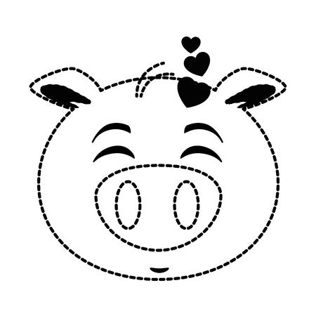 cute lovely pig emoji  vector illustration design