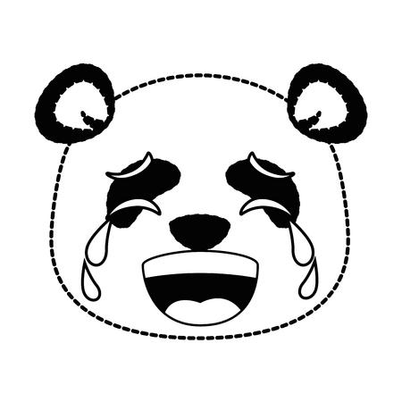 cute panda crying emoji  vector illustration design