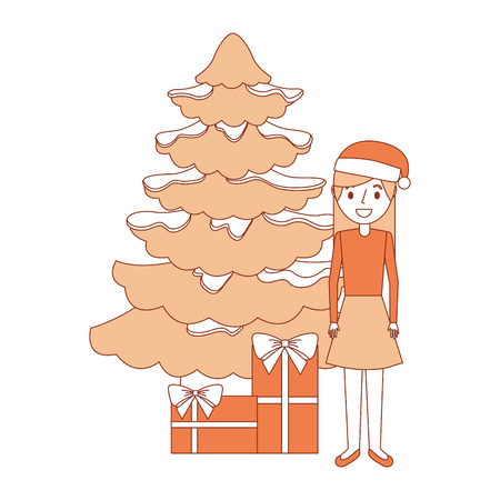 woman standing christmas tree and gift boxes vector illustration 向量圖像