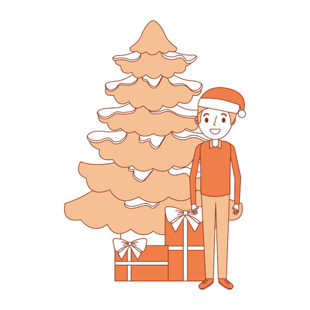 man standing with the christmas tree and gift boxes vector illustration