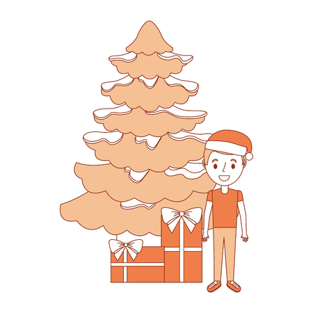 happy kid wearing christmas hat with tree and gifts vector illustration Ilustração