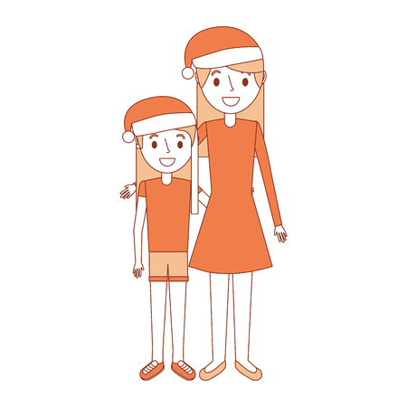 mom embracing her daughter wearing christmas hat vector illustration