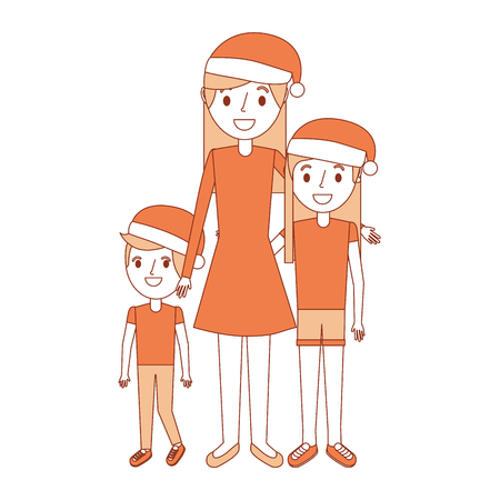family mom and their kids with christmas hat vector illustration