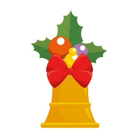 christmas bell with bowntie vector illustration design