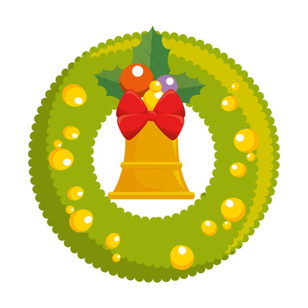 christmas crown with bell decorative vector illustration design Stock Vector - 91394971