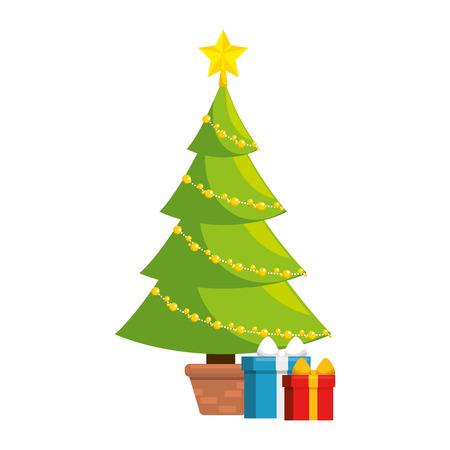 christmas tree with gifts vector illustration design Vettoriali