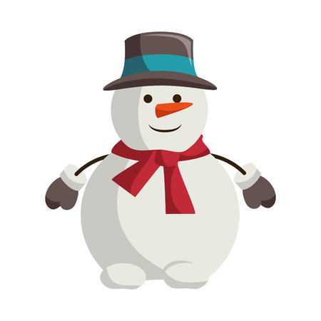 snowman with christmas hat character vector illustration design