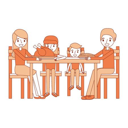 familia sonriente se reunieron sentados para la ilustración del vector de la cena Vectores
