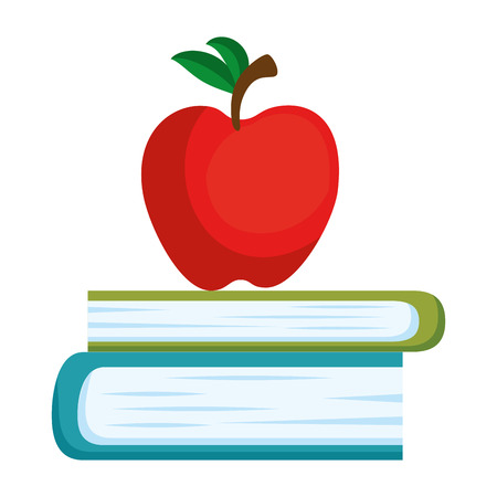 text book with apple vector illustration design Ilustrace