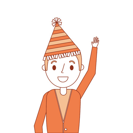 portrait older man with party hat waving hand vector illustration