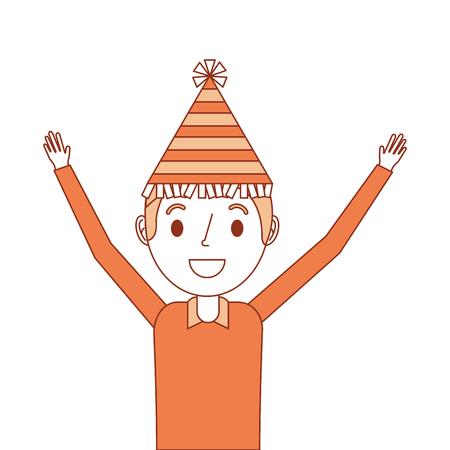 Portrait, heureux, porter, fête, chapeau, bras, haut, vecteur, illustration Banque d'images - 91395162