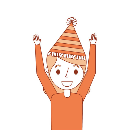 portrait elderly woman grandma with party hat and arms up vector illustration