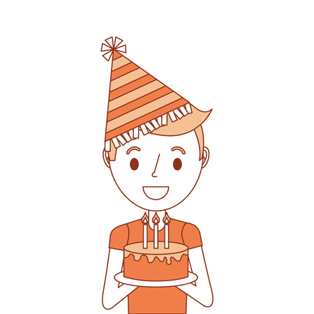 portrait young boy holding birthday cake wearing party hat vector illustration