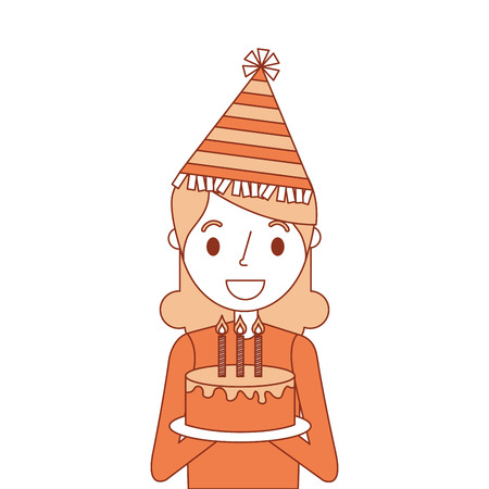 portrait happy woman holding birthday cake wearing party hat vector illustration