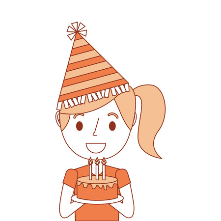 portrait cute young little girl wearing party hat holding birthday cake vector illustration