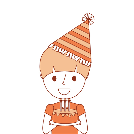 portrait cute young boy holding birthday cake wearing party hat vector illustration