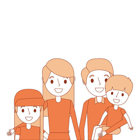 portrait family dad carrying son and mom daughter vector illustration Illustration