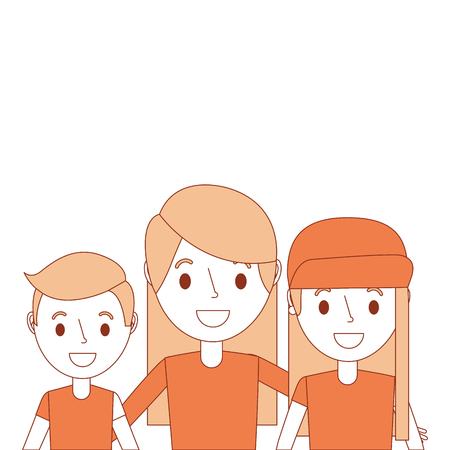portrait mom embracing with son and daughter vector illustration Illustration