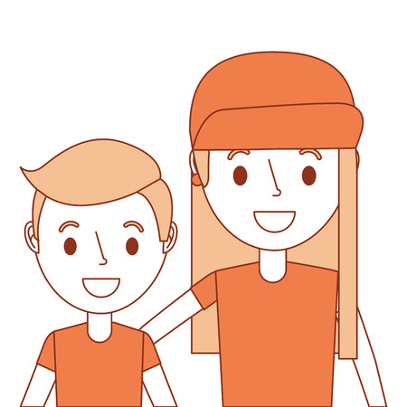 portrait cute boy and girl embracing family members vector illustration Ilustracja